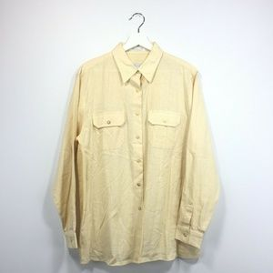 Foxcroft Shirt 14 Yellow Linen Cotton Button Down